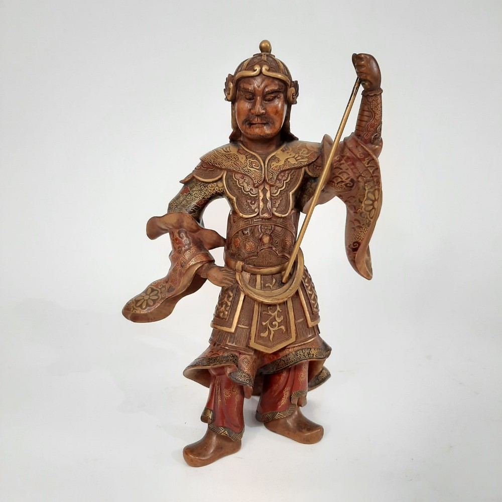 japanese wood and lacquer figure