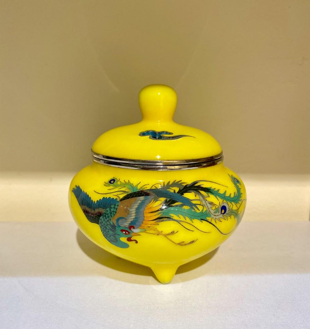 japanese yellow enamel cloisonn koro meiji period