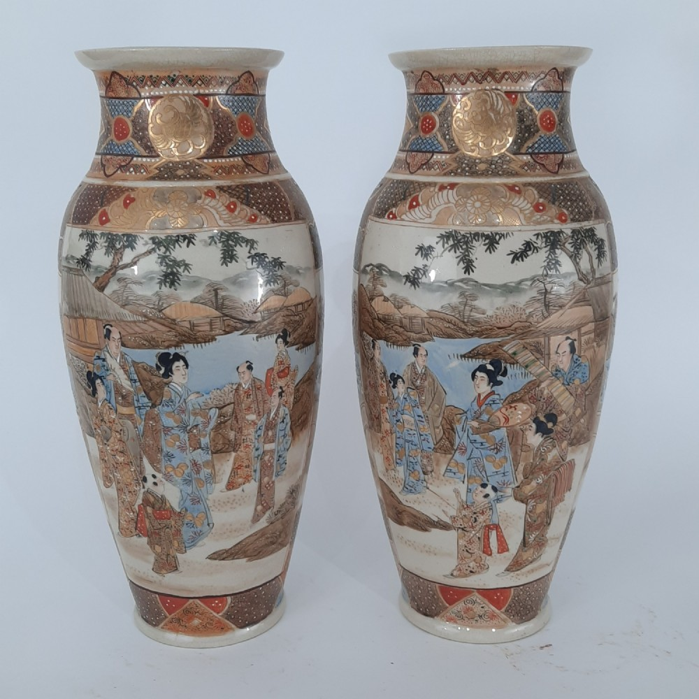 pair japanese satsuma vases with decoration of wealthy figures