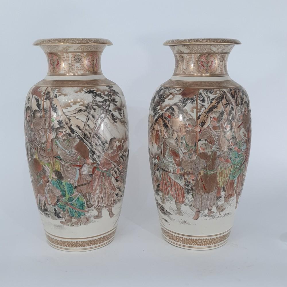 pair japanese satsuma vases with decoration of samurai