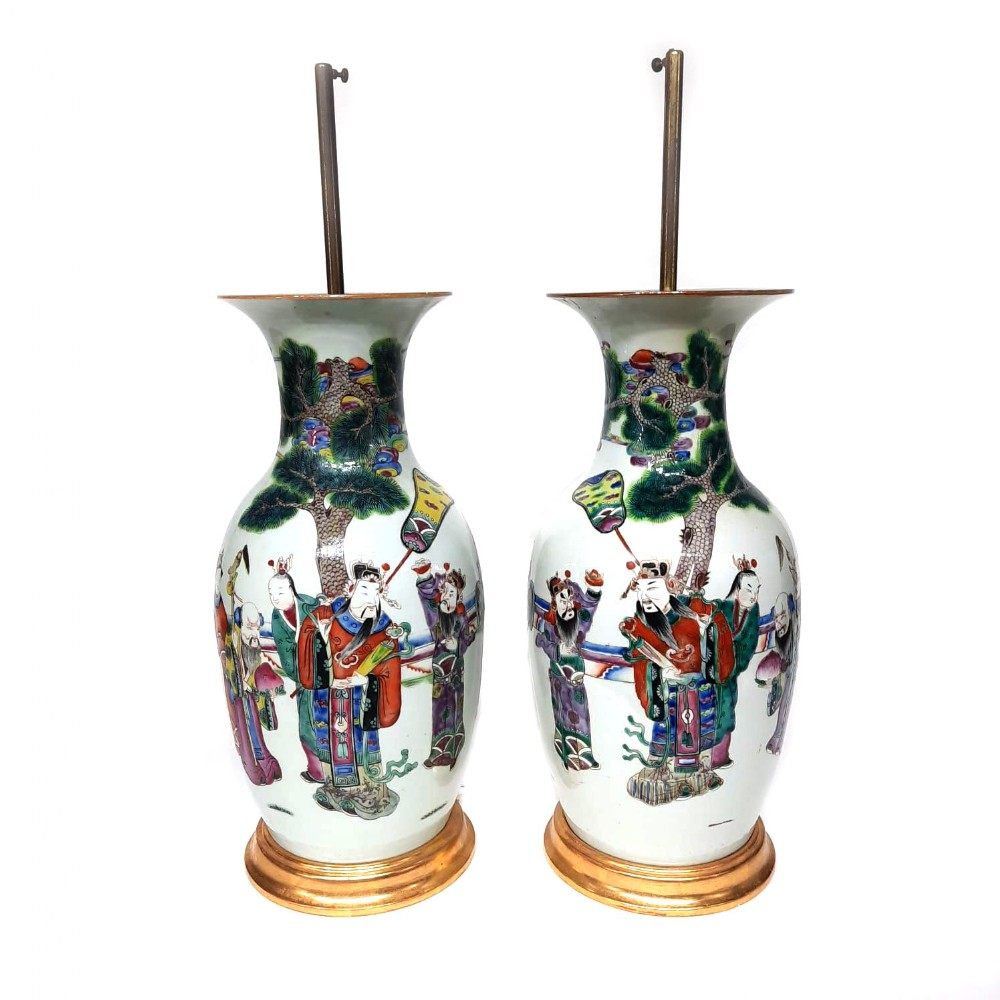 pair chinese famille verte lamped vases