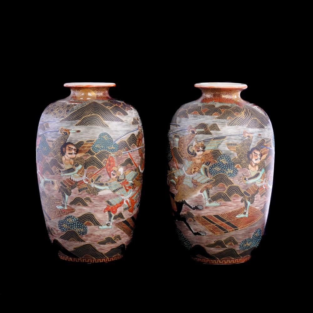 pair satsuma vases with warriors meiji period