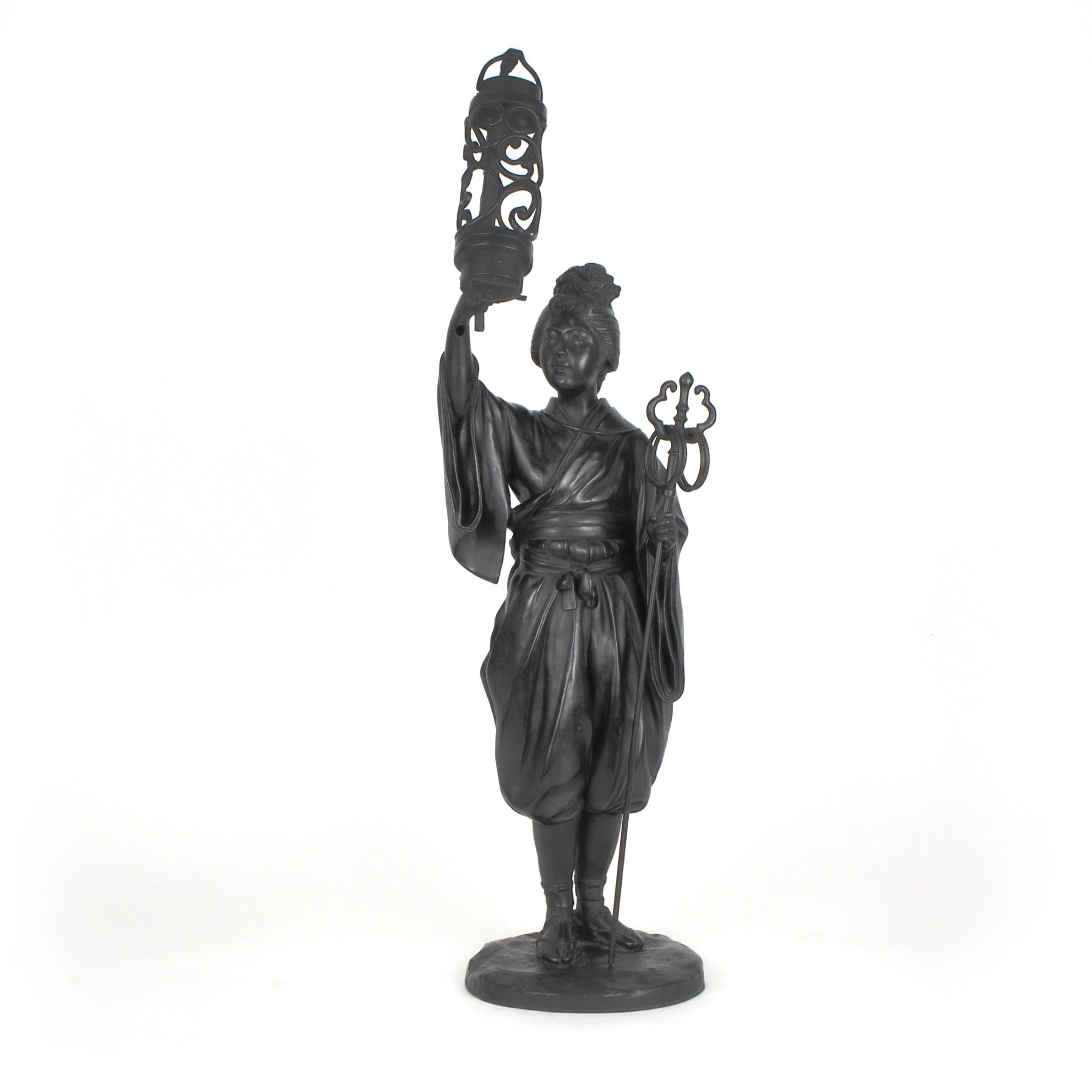 japanese tokyo school bronze figure lamp of a lady