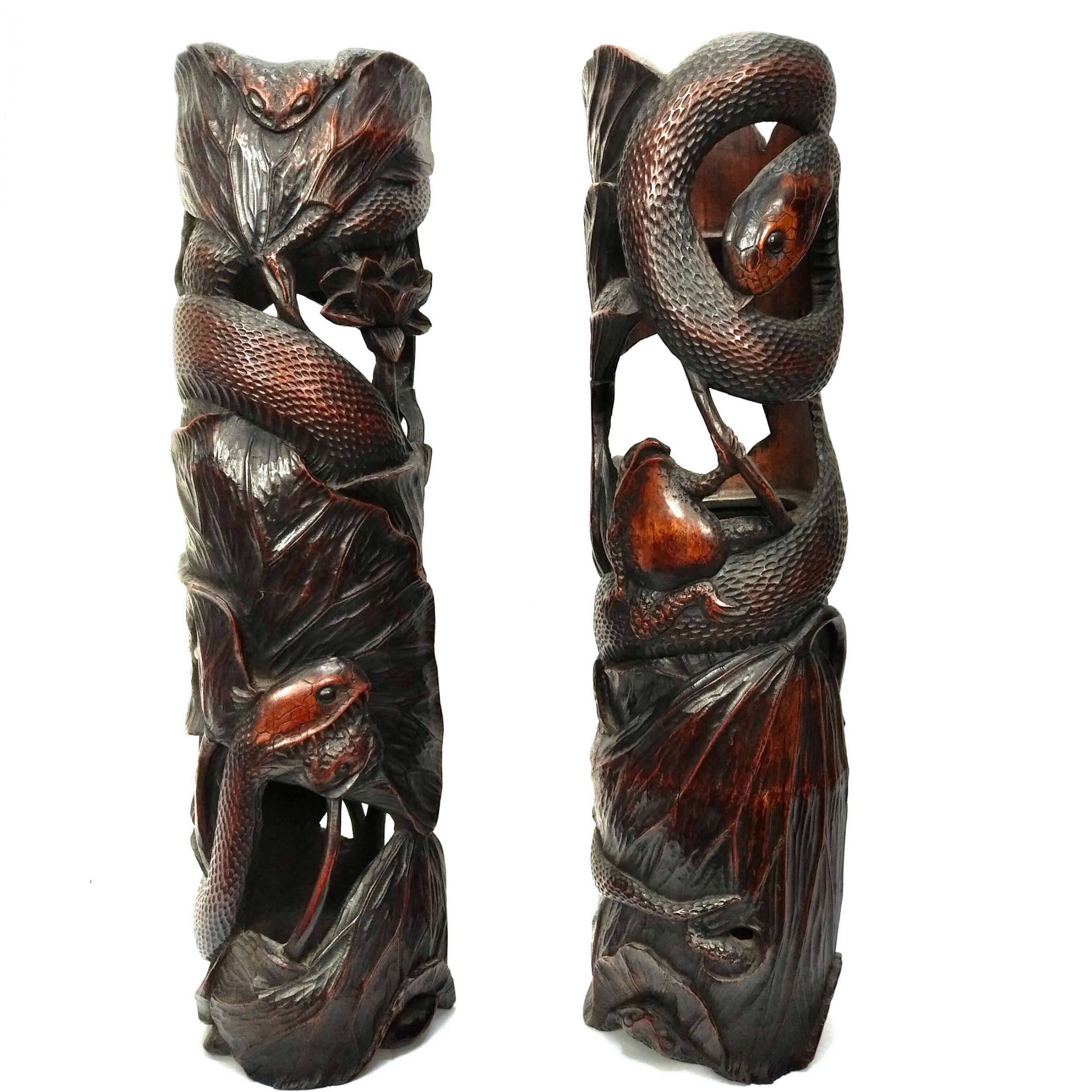 pair of tall japanese bamboo vases meiji period