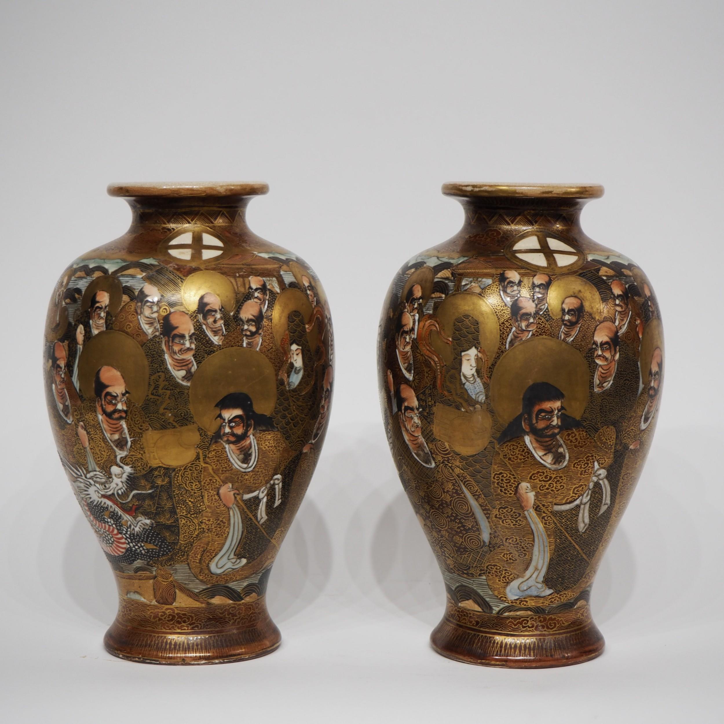 pair japanese satsuma vases with gods decoration