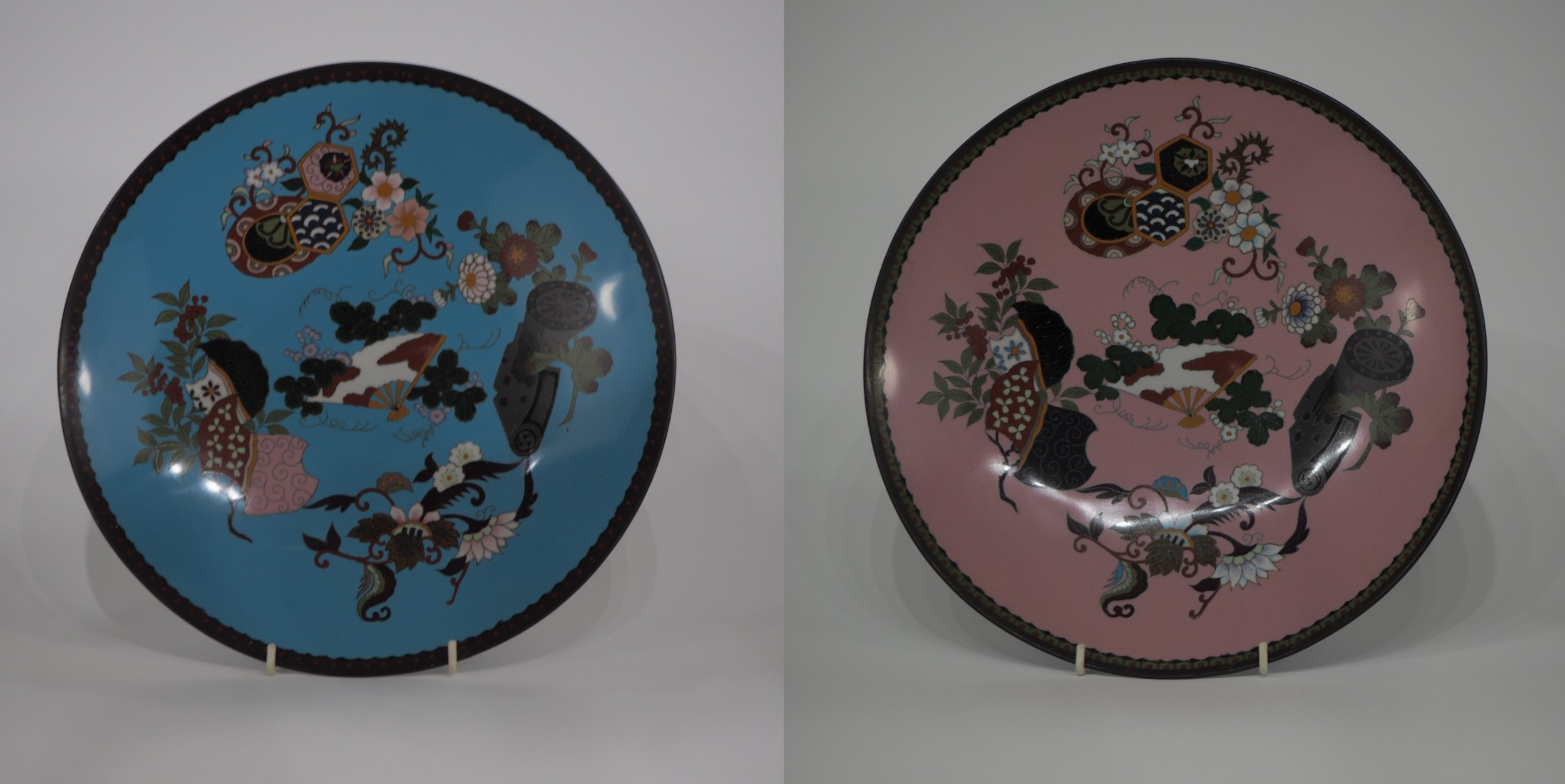 pair japanese cloisonne plates with decoration of flowers and fans