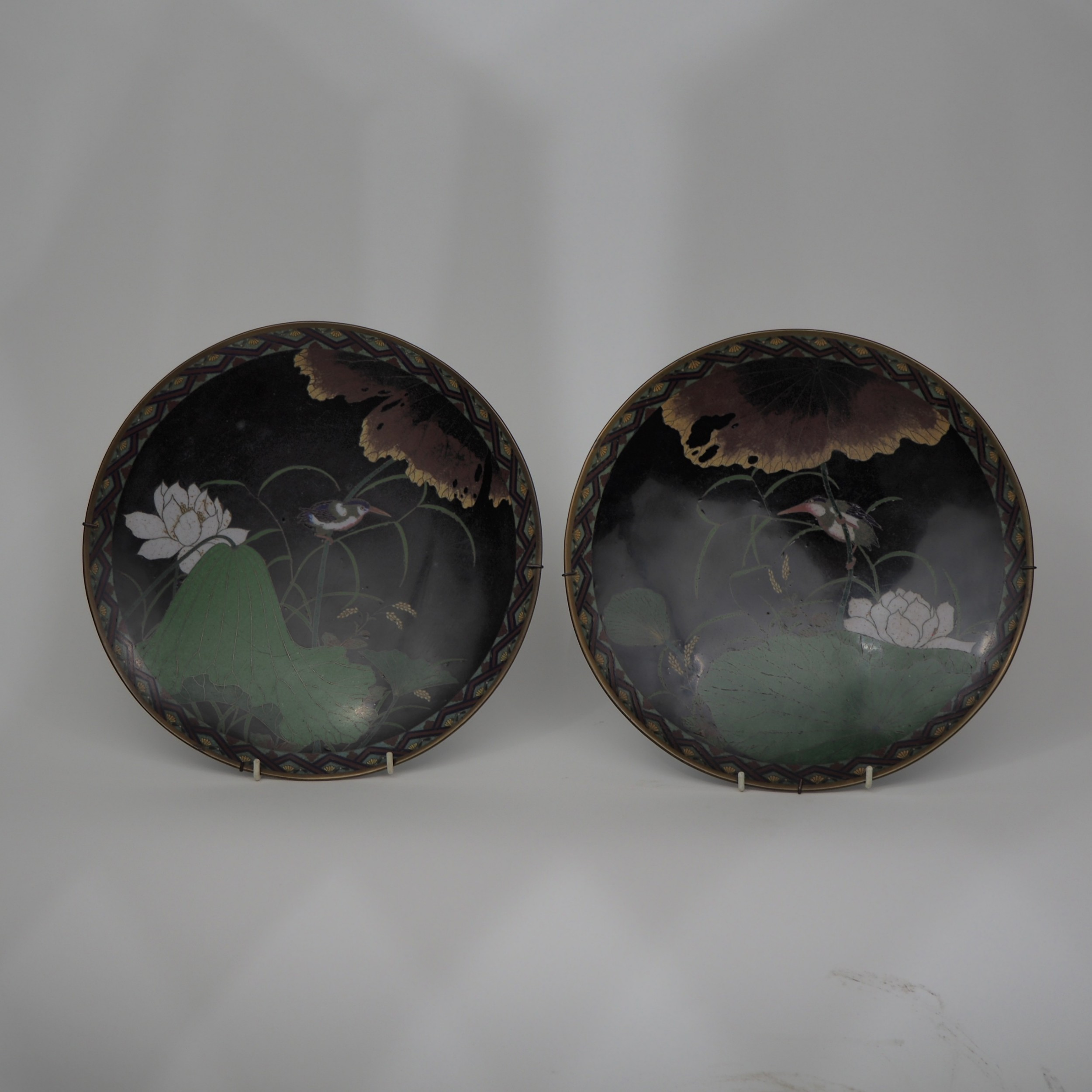 pair of japanese cloisonne plates decorated with kingfishers