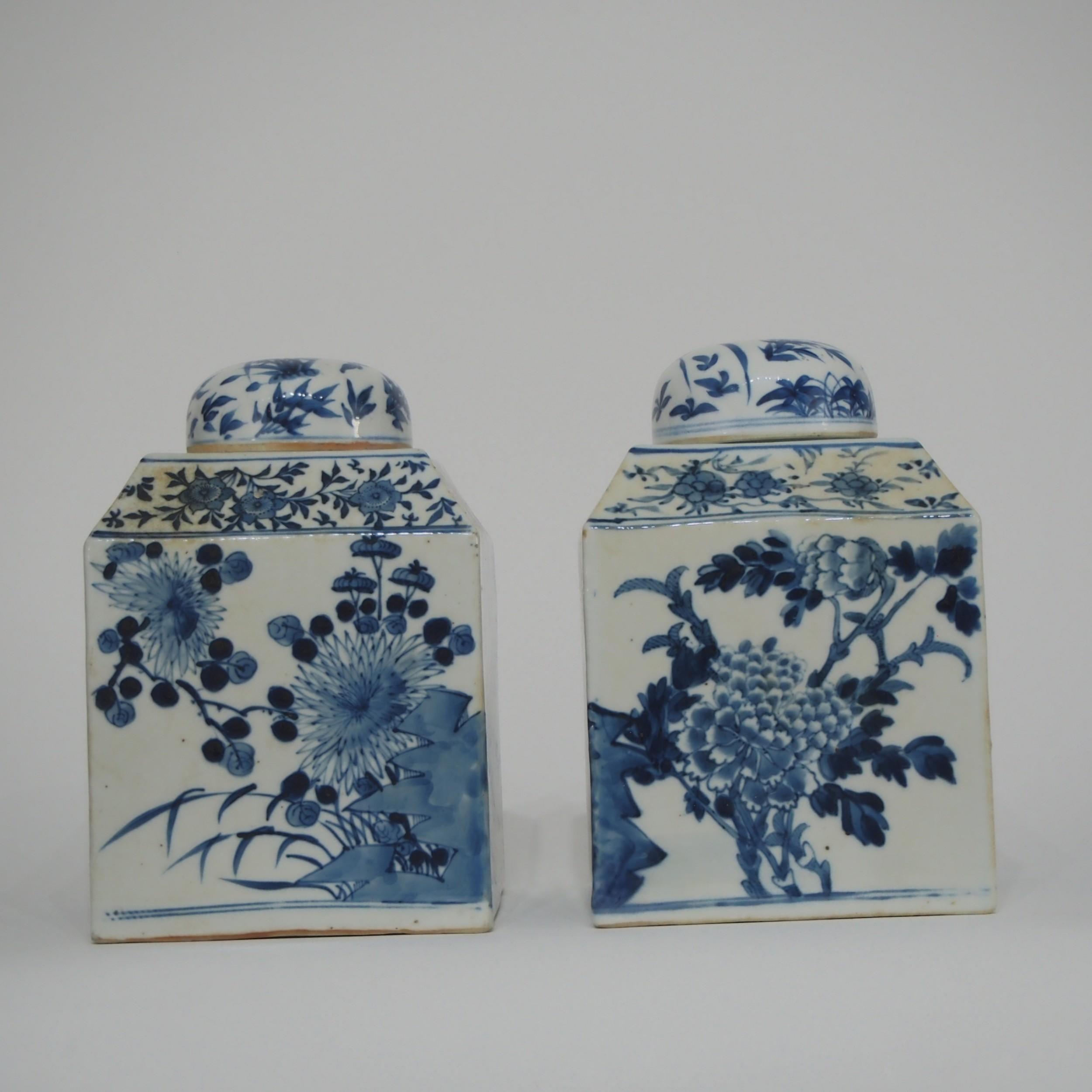 pair chinese blue and white tea jars