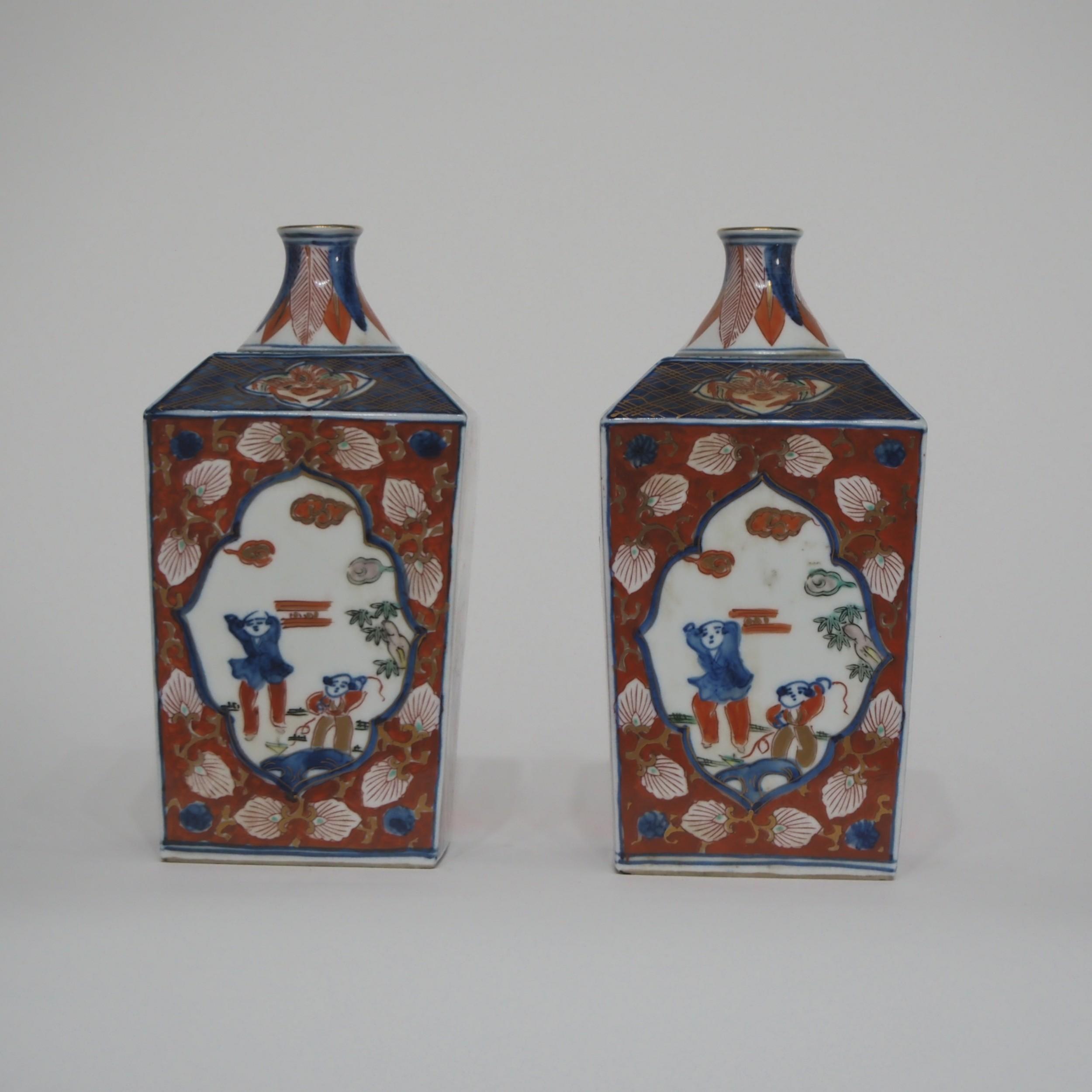pair japanese imari square vases
