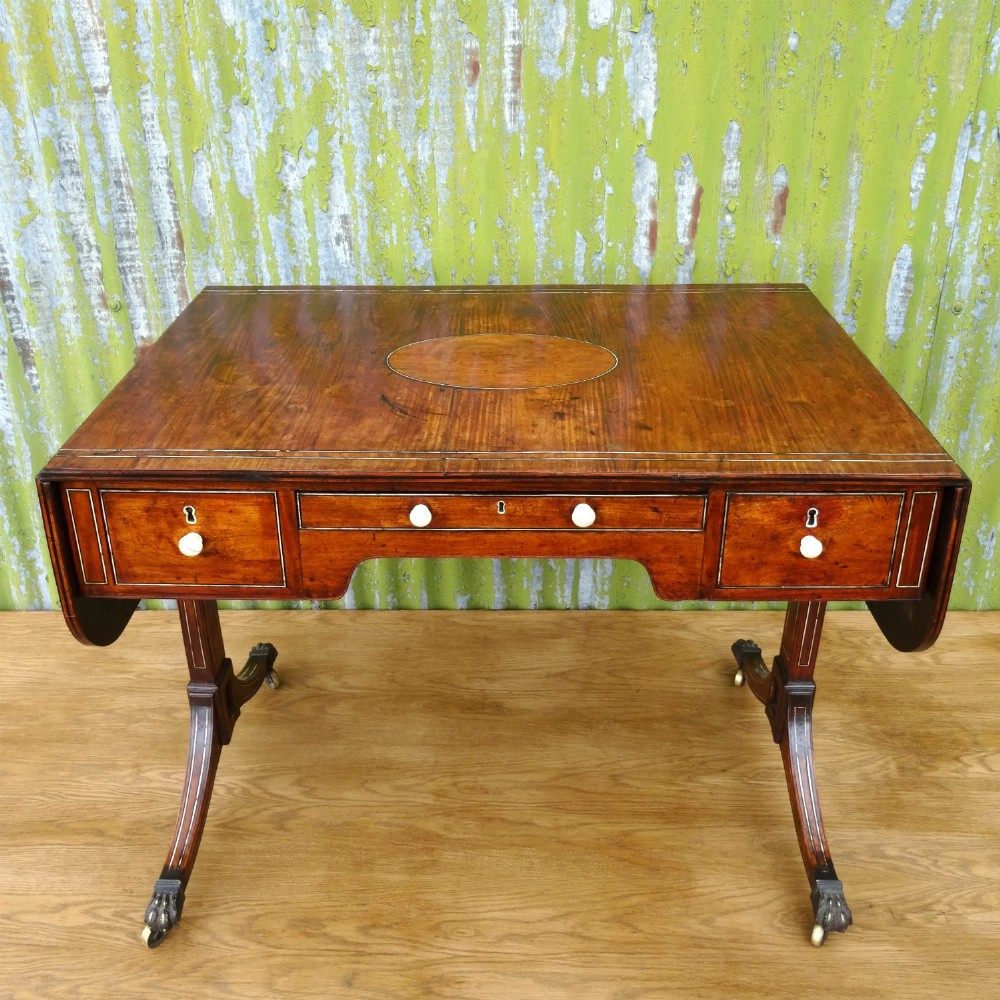 early 19th century chinese export padouk ivory ebony inlaid sofa table