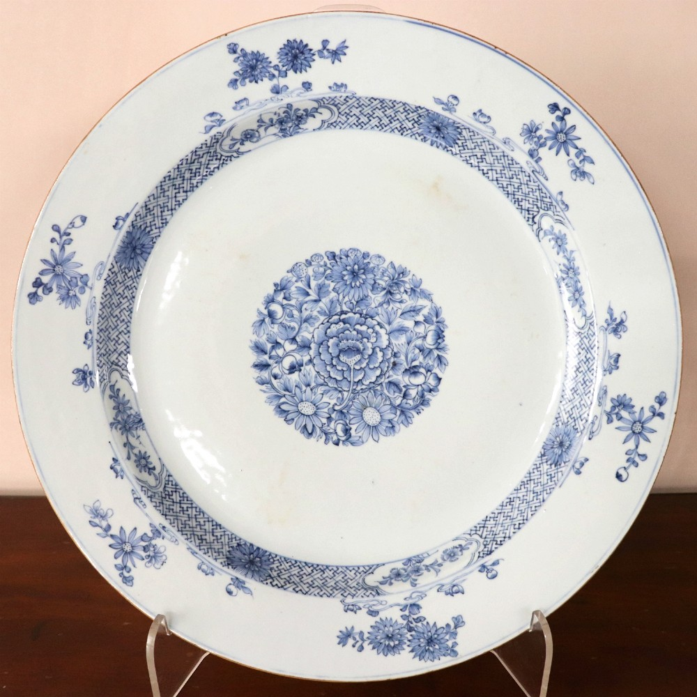 late 18th century chinese blue and white charger