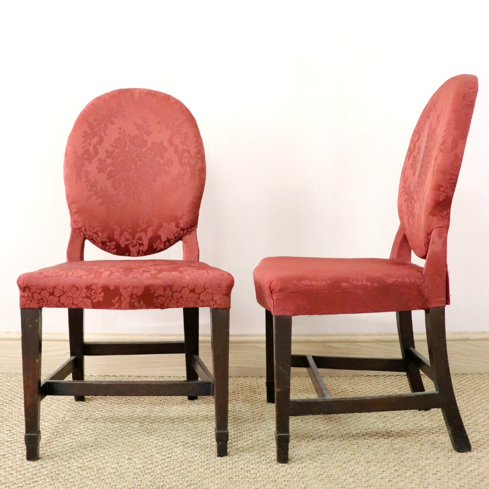 pair of 18th century upholstered mahogany side chairs