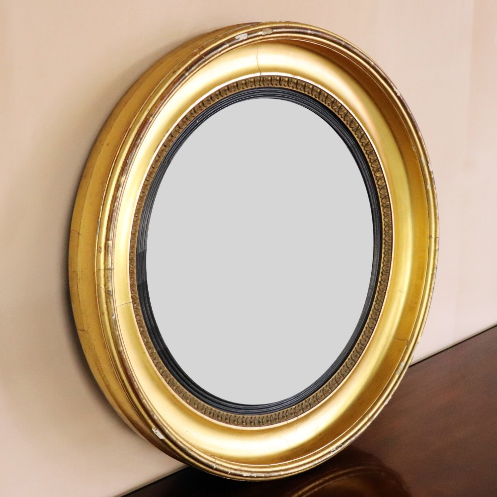 regency gilt convex mirror