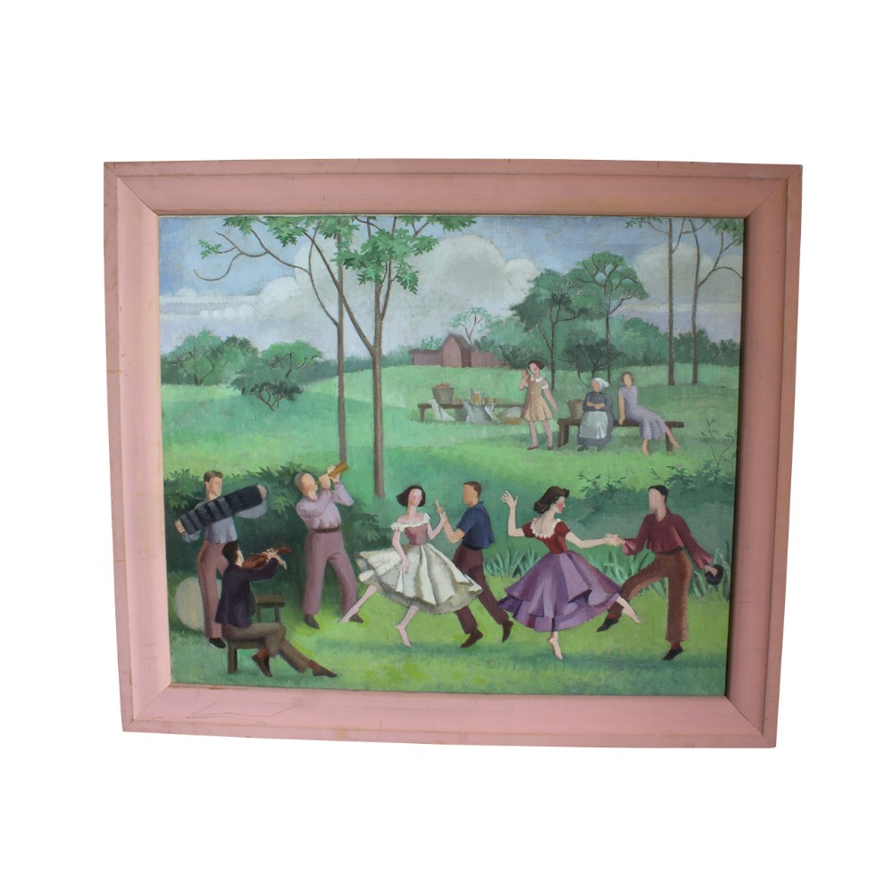 oil on canvas figures country dancing