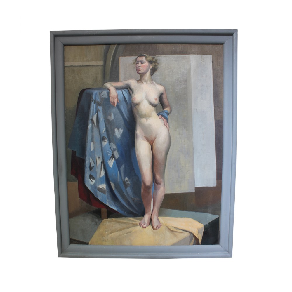 oil on canvas standing nude with colourful drape