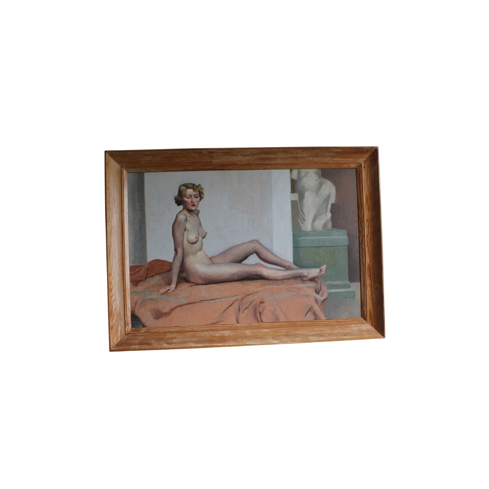 oil on canvas nude reclining