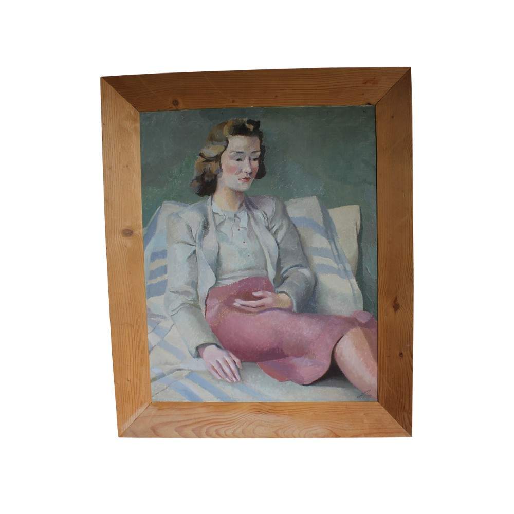 oil on canvas portrait of a seated lady