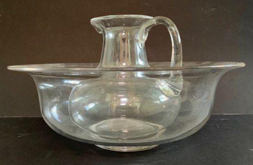 a 19th c glass wash basin and jug