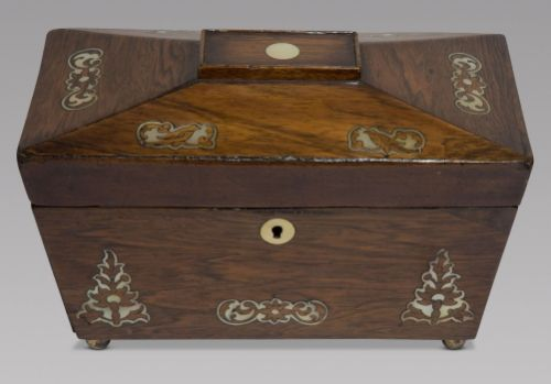 a 19thc rosewood box with mother of pearl