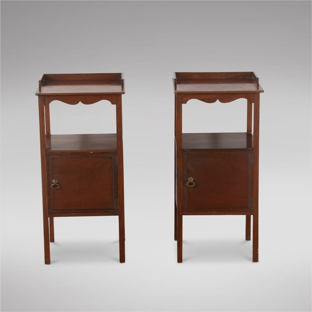 a pair english mahogany bedside tables