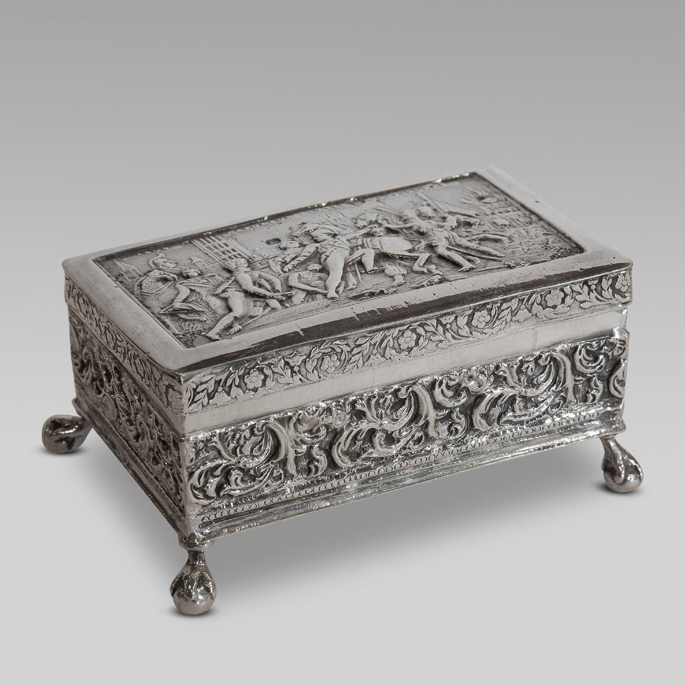 19thc dutch napoleonic battle scene silver box