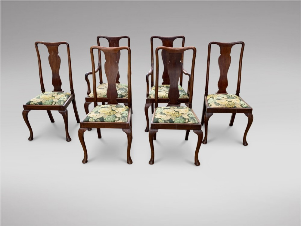 a set of six 19thc queen anne style dining chairs
