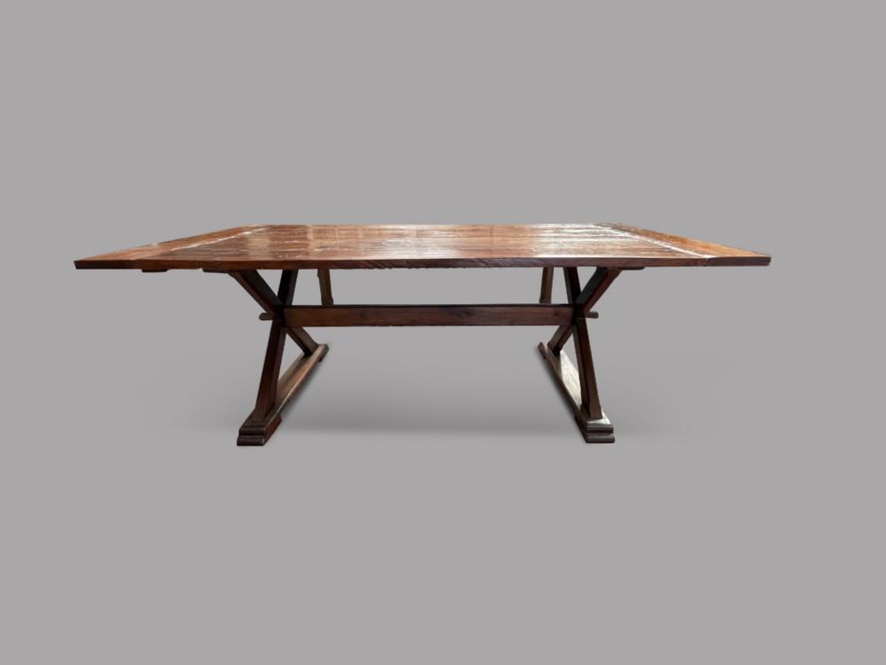 a19thc topped french oak trestledining table
