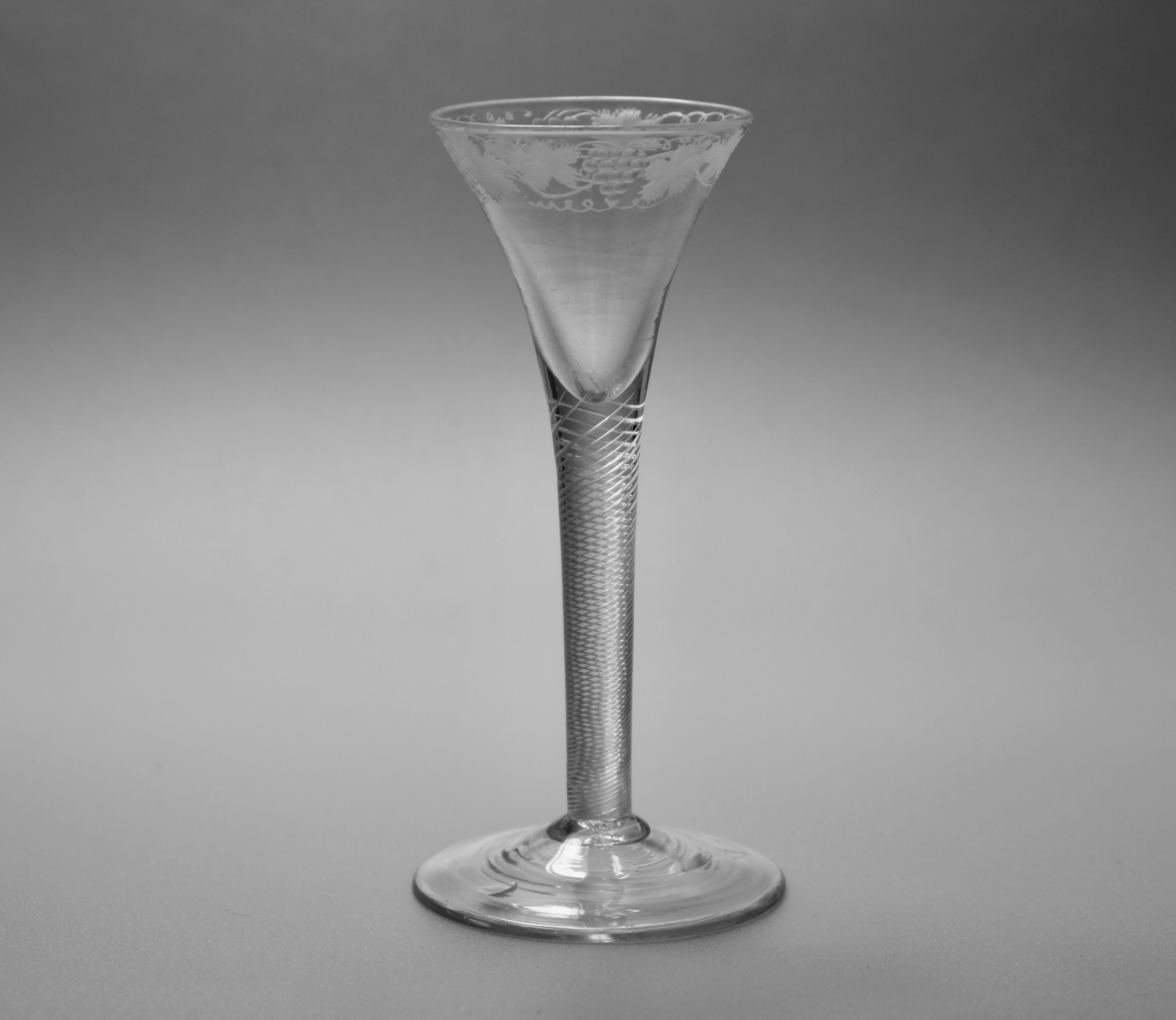 engraved air twist wine glass english c1755