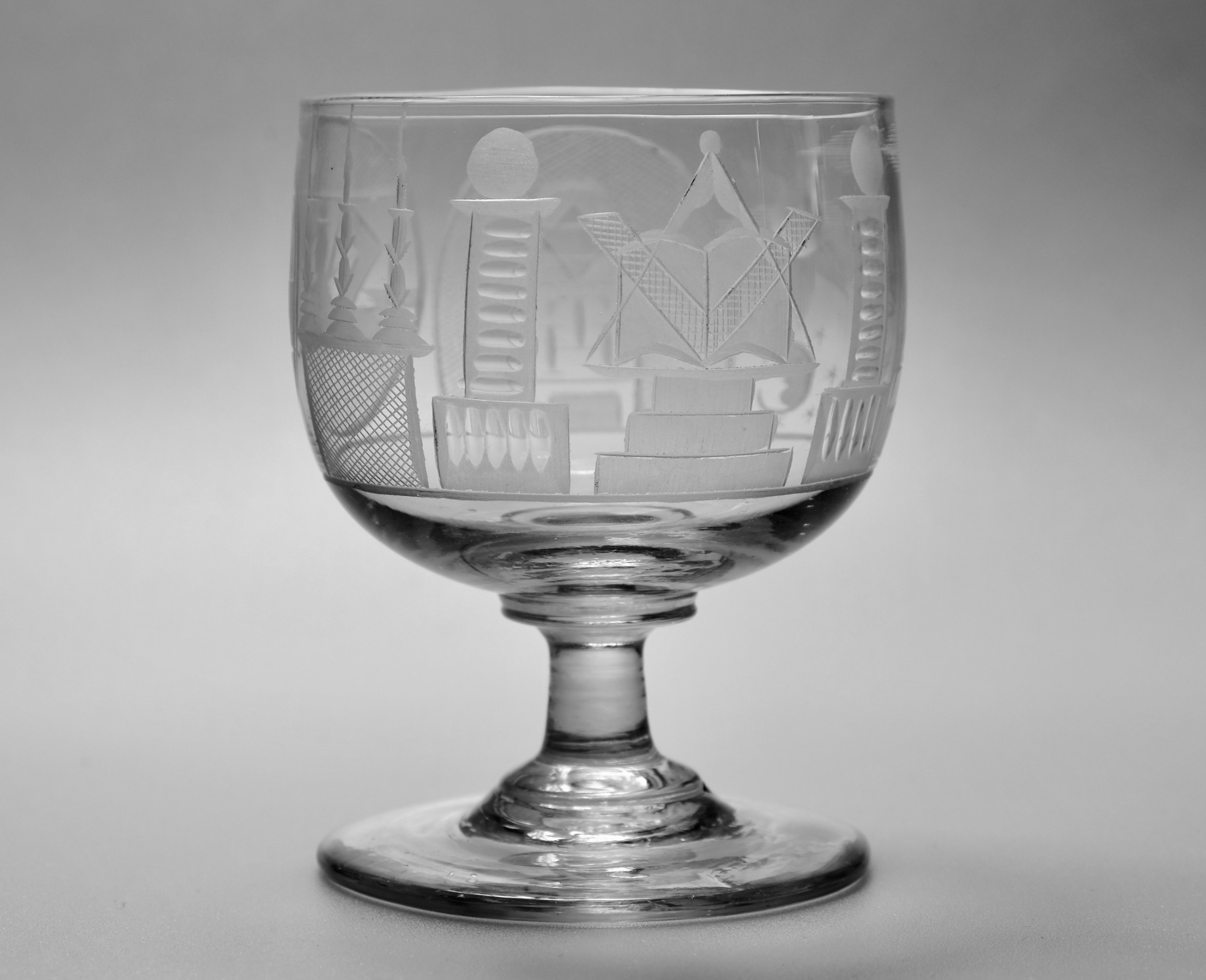 cup bowl rummer with masonic engraving c1830