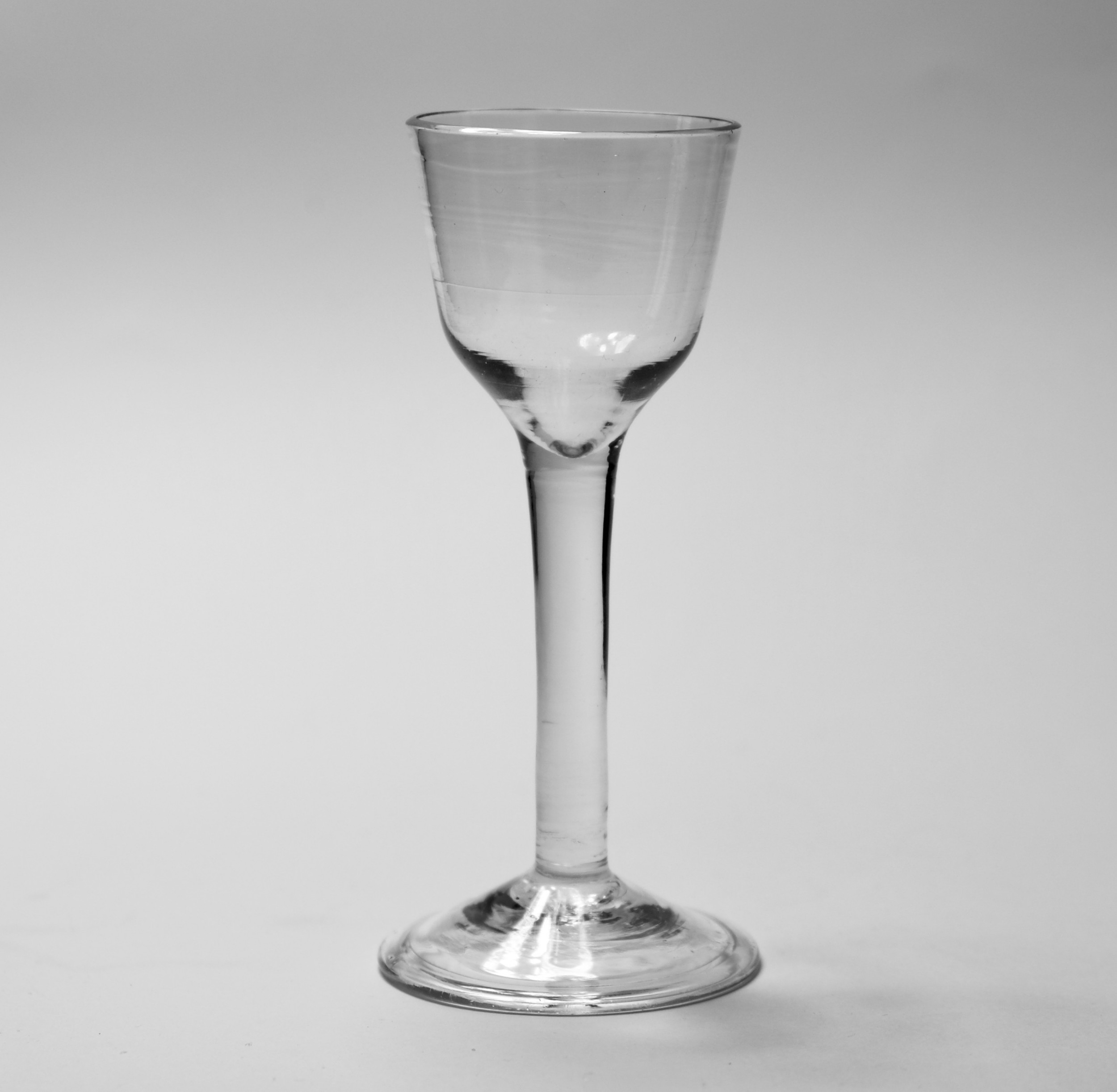 plain stem ogee bowl wine glass english c1760