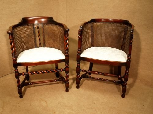antique pair of bergere tub chairs - Antique Pair Of Bergere Tub Chairs 96329 Sellingantiques.co.uk