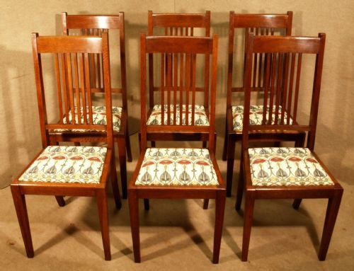 Set 6 Oak Arts Craft Dining Chairs 104371 Sellingantiques Co Uk