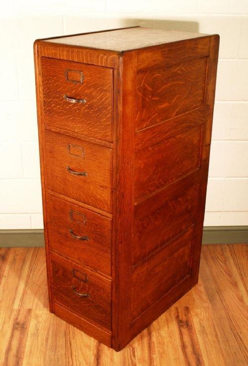 antique oak 4 drawer filing cabinet 129015. Black Bedroom Furniture Sets. Home Design Ideas
