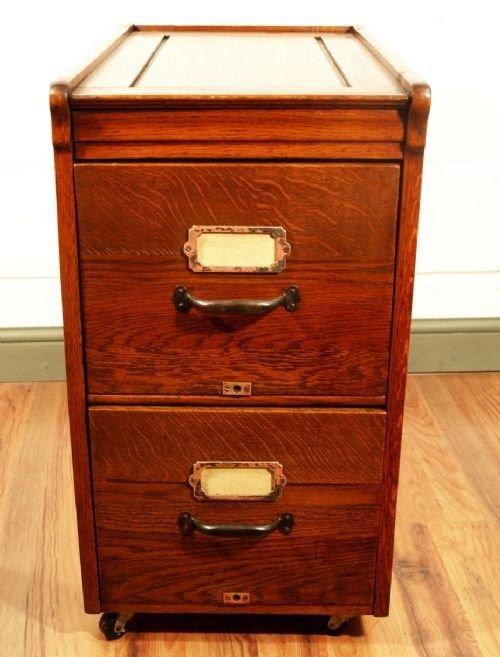 antique oak 2 drawer filing cabinet 129016. Black Bedroom Furniture Sets. Home Design Ideas