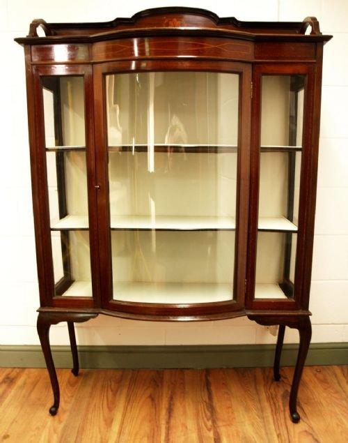 edwardian inlaid mahogany bow front display china cabinet circa 1900 - Edwardian Inlaid Mahogany Bow Front Display / China Cabinet Circa
