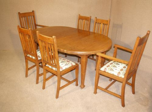 Arts Crafts Oak Dining Table And 6 Chairs