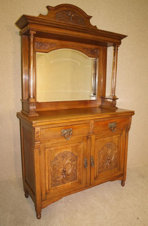 victorian sideboard with mirror late oak mirror back sideboard 229301 6770