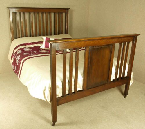 Arts crafts oak double bed 261966 for Arts and crafts beds