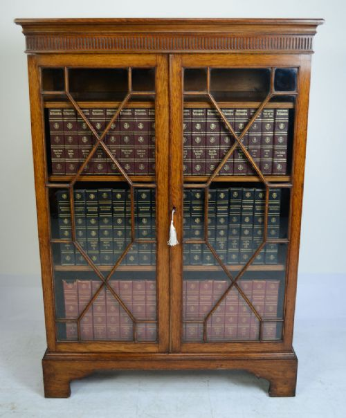 victorian oak 2 door bookcase circa 1890