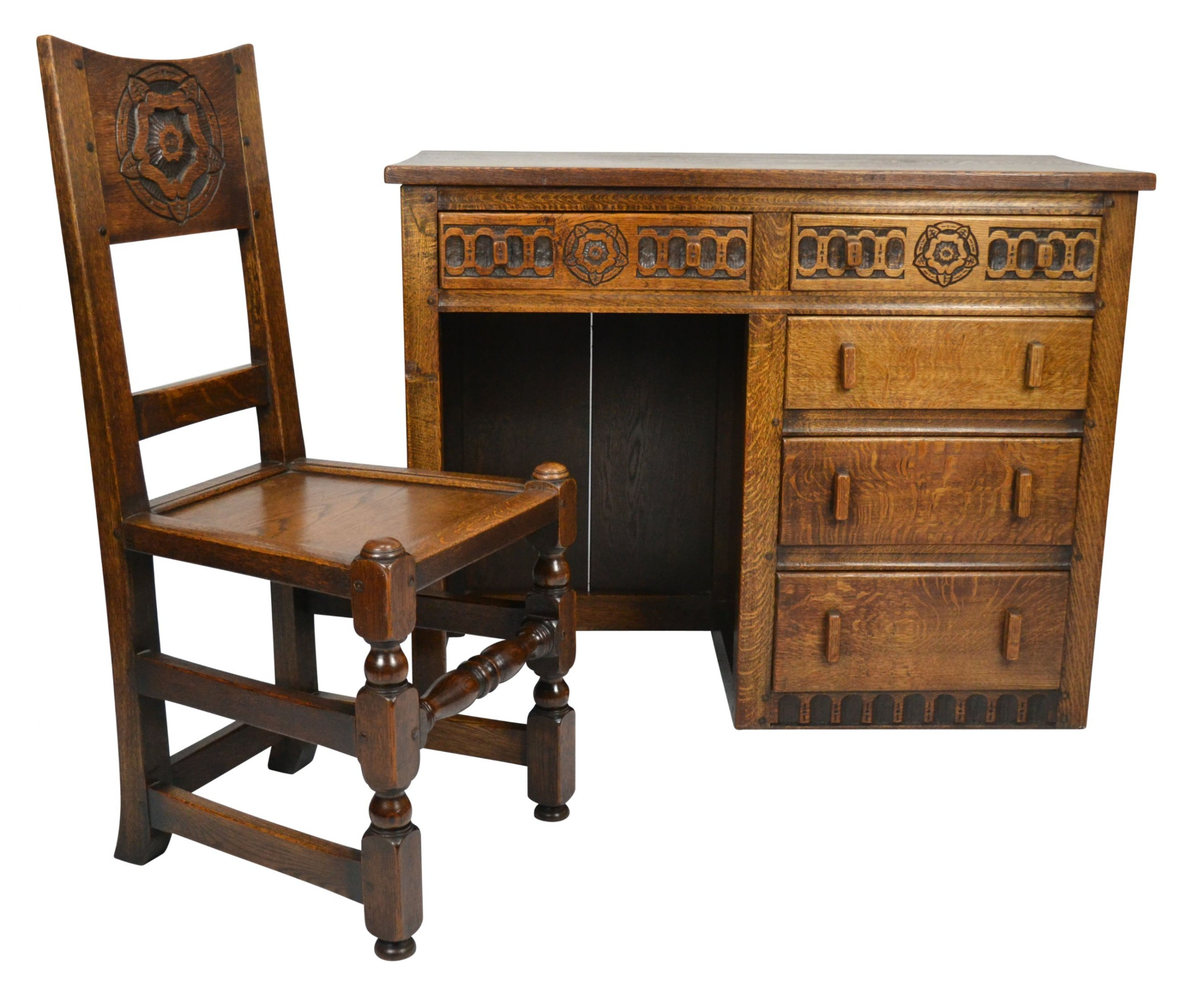 unusual tudor rose desk with matching chair circa 1910