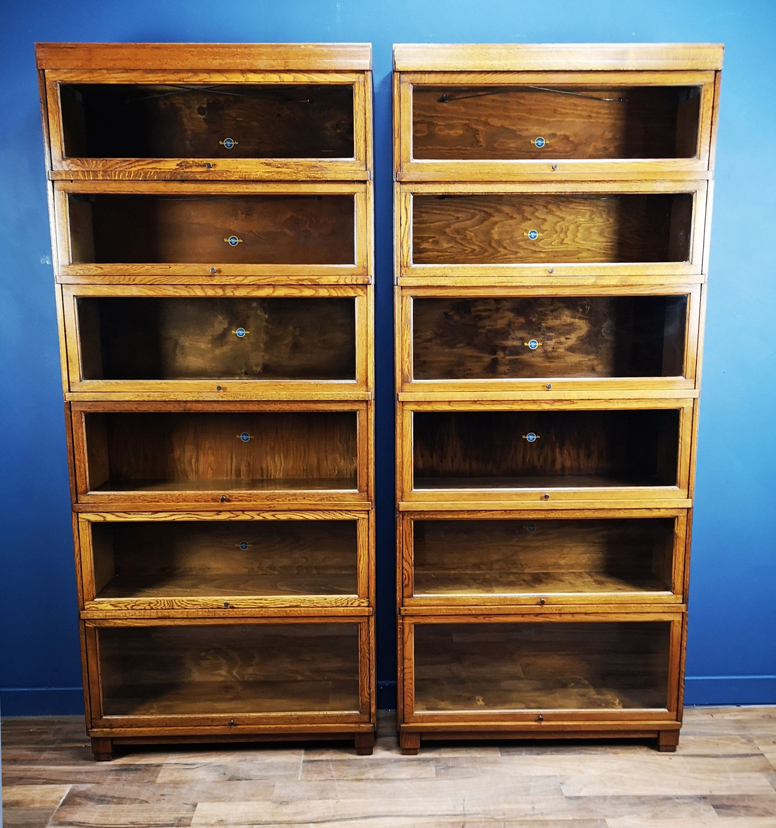 Pair Of Art Deco Oak Globe Wernicke Barristers Bookcases