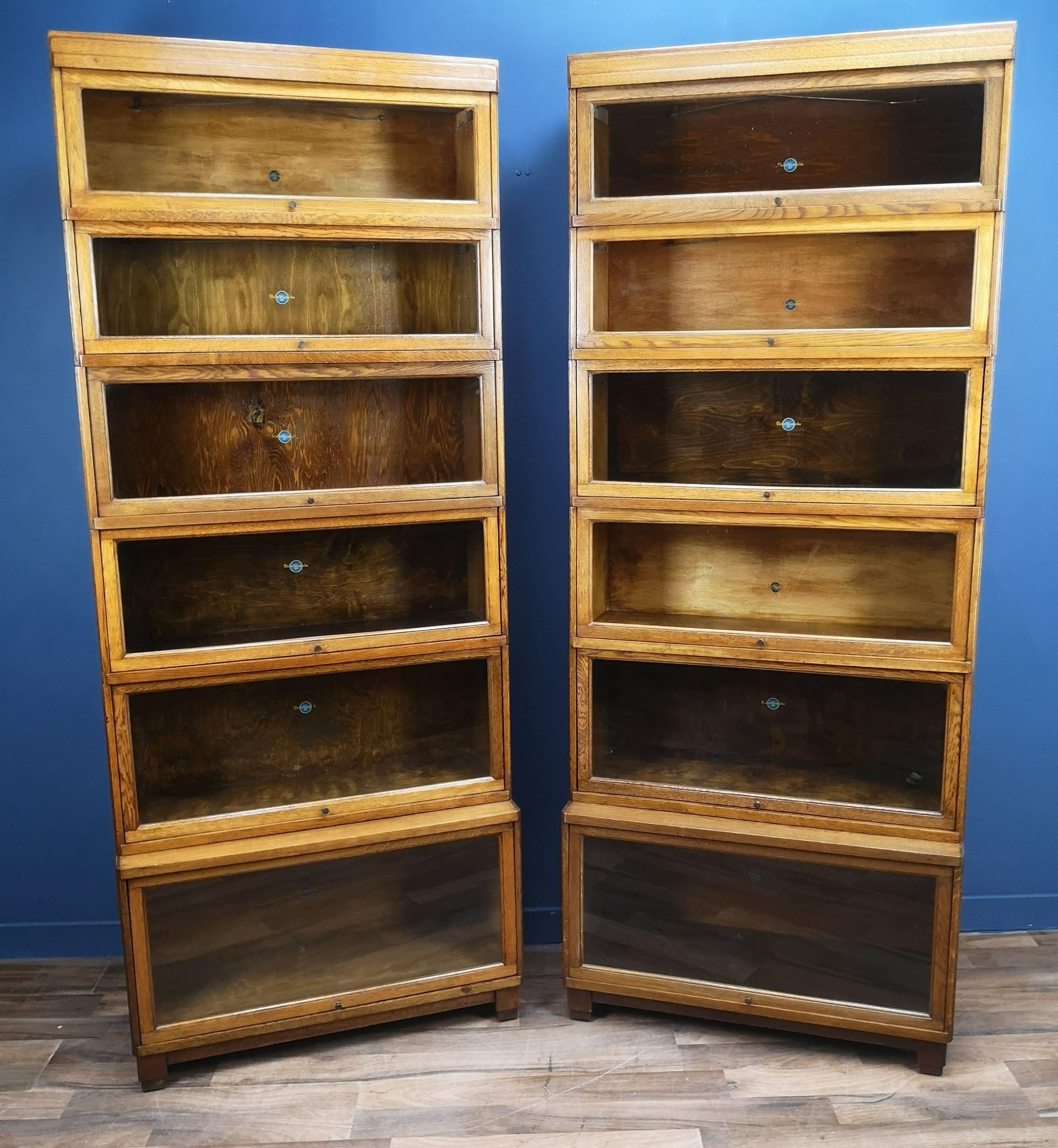 pair of art deco oak globe wernicke barristers bookcases