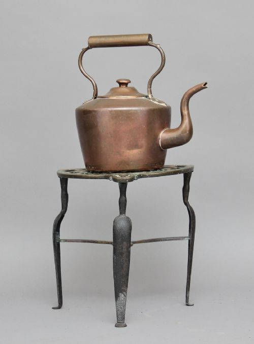 19th century copper kettle on stand