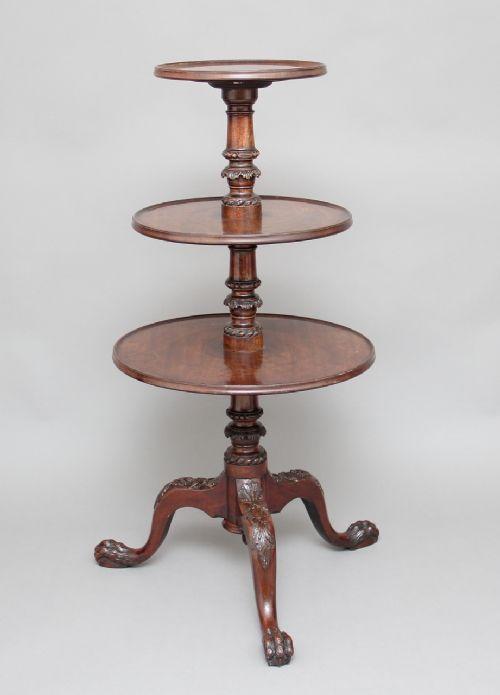 early 19th century three tier mahogany dumbwaiter