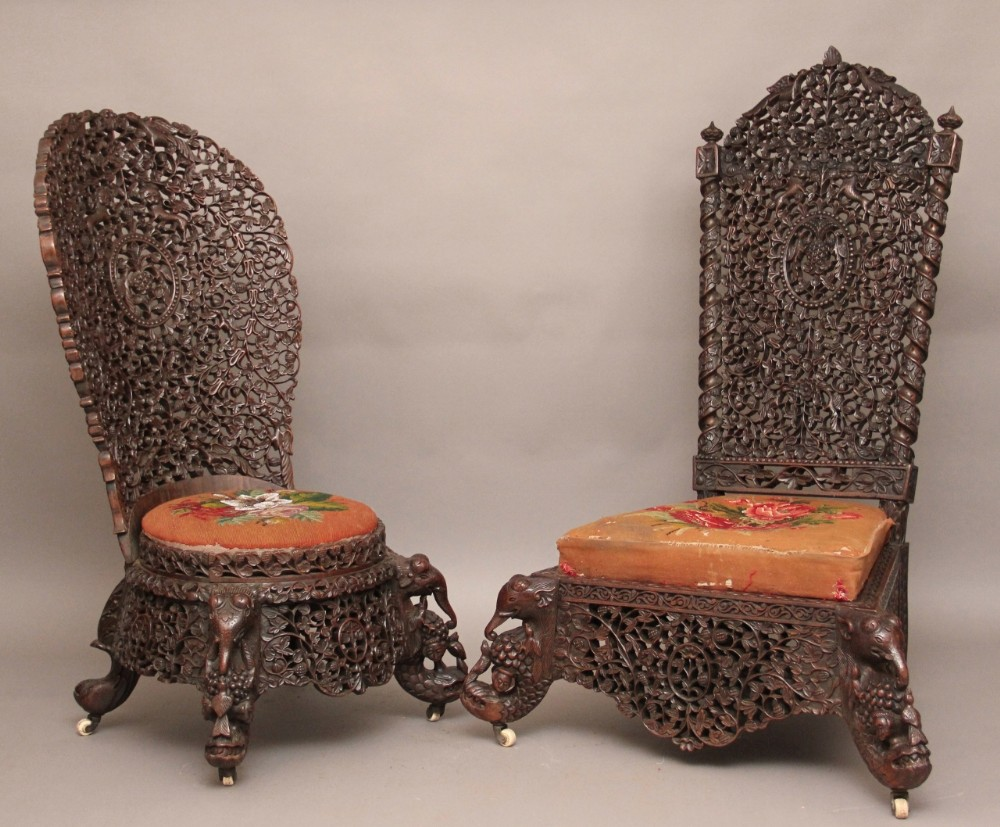pair carved chairs - Pair Carved Chairs 247389 Sellingantiques.co.uk