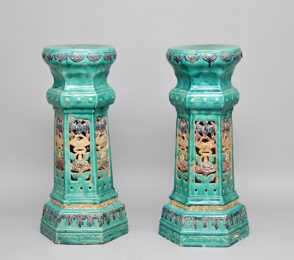 pair early 20th century chinese porcelain pedestals