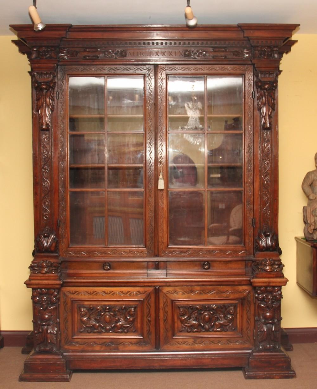 19th century walnut bookcase cabinet