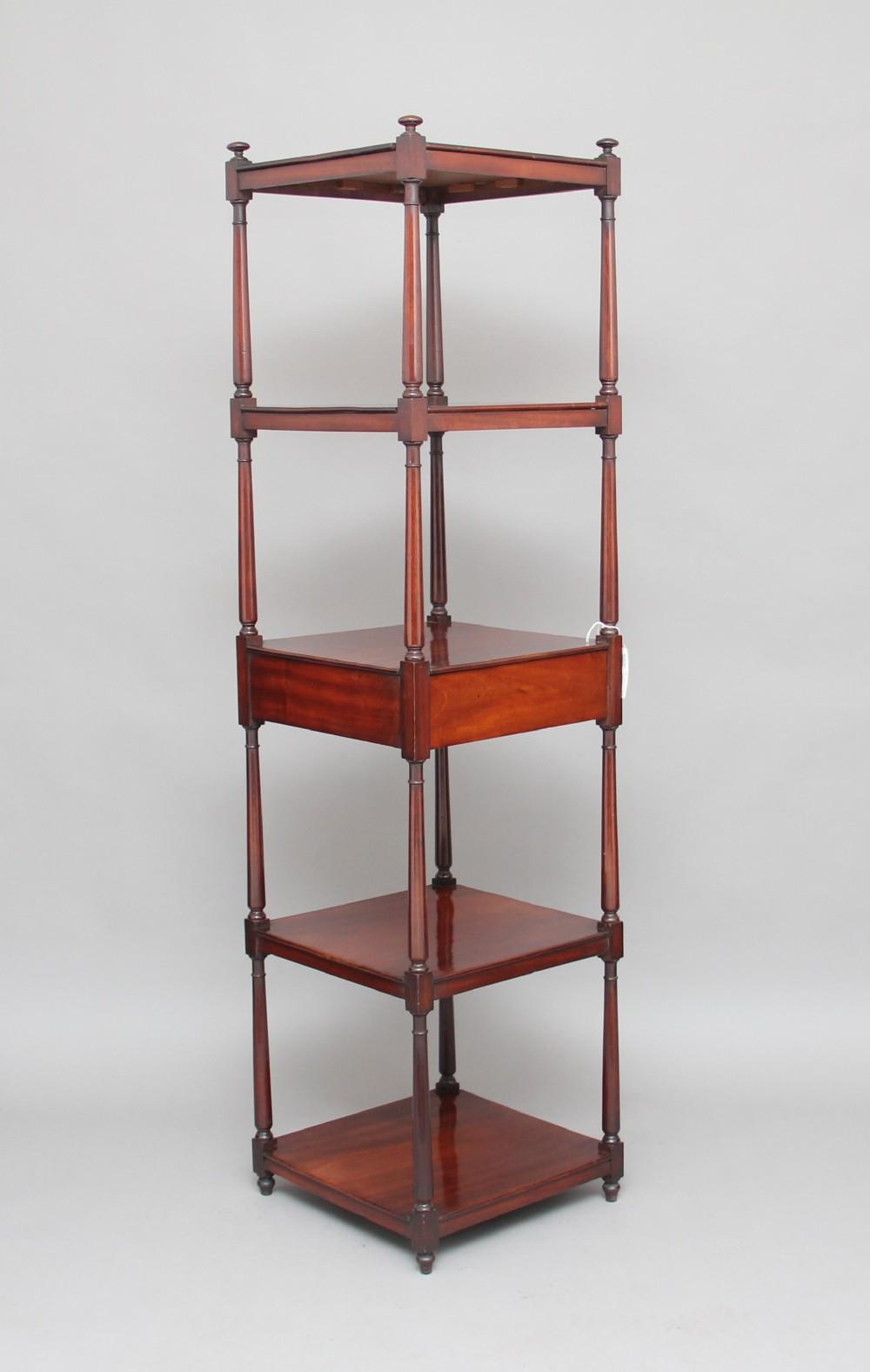 early 19th century mahogany five tier whatnot