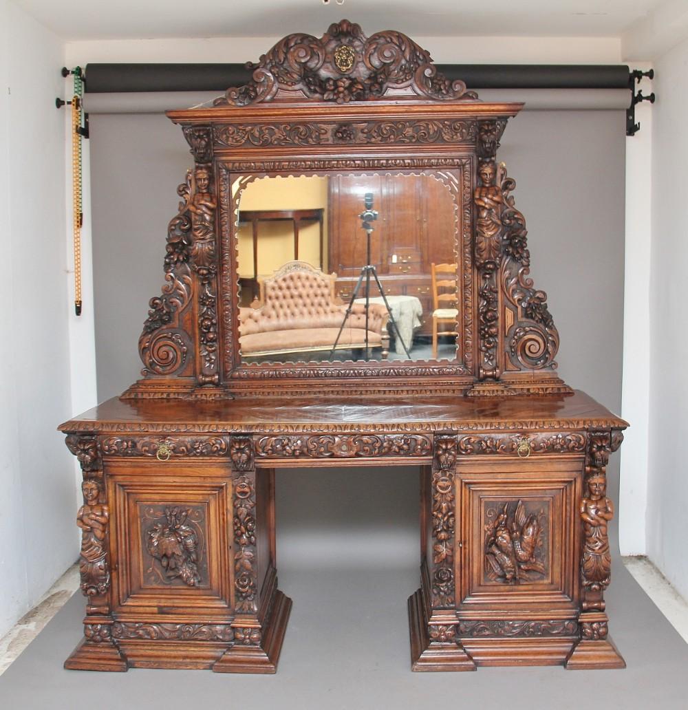 19th century carved oak pedestal sideboard