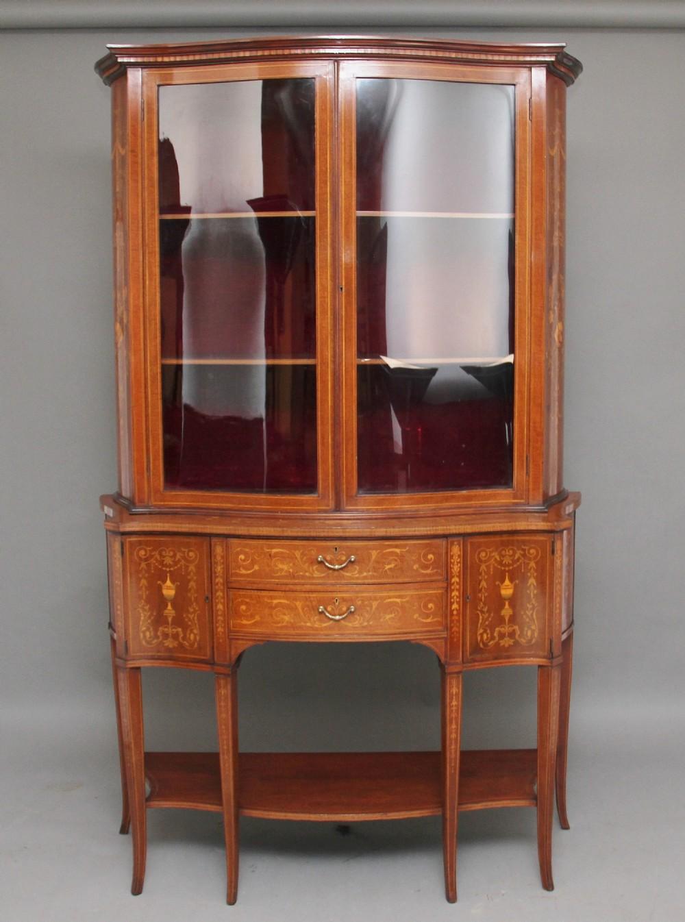 19th century inlaid mahogany display cabinet